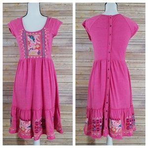 Johnny Was XS JWLA Pink Embroidered Dress